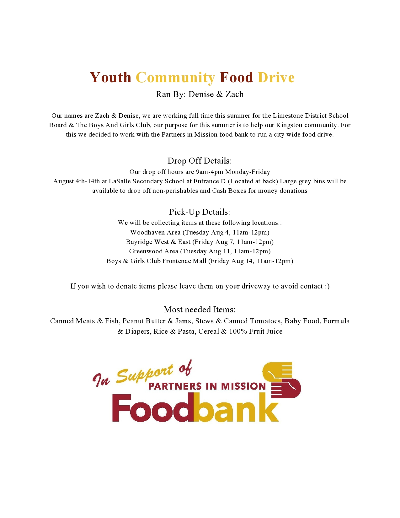 Youth Community Food Drive